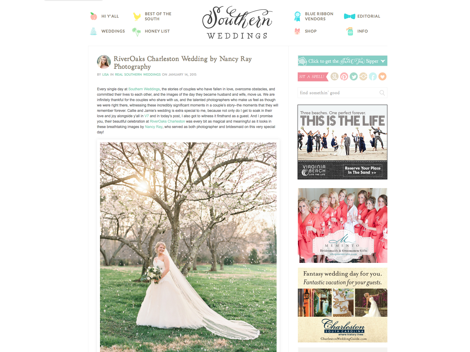 2015:01:14 - Southern Weddings Blog : Callie and Jamie Wedding : Nancy Ray