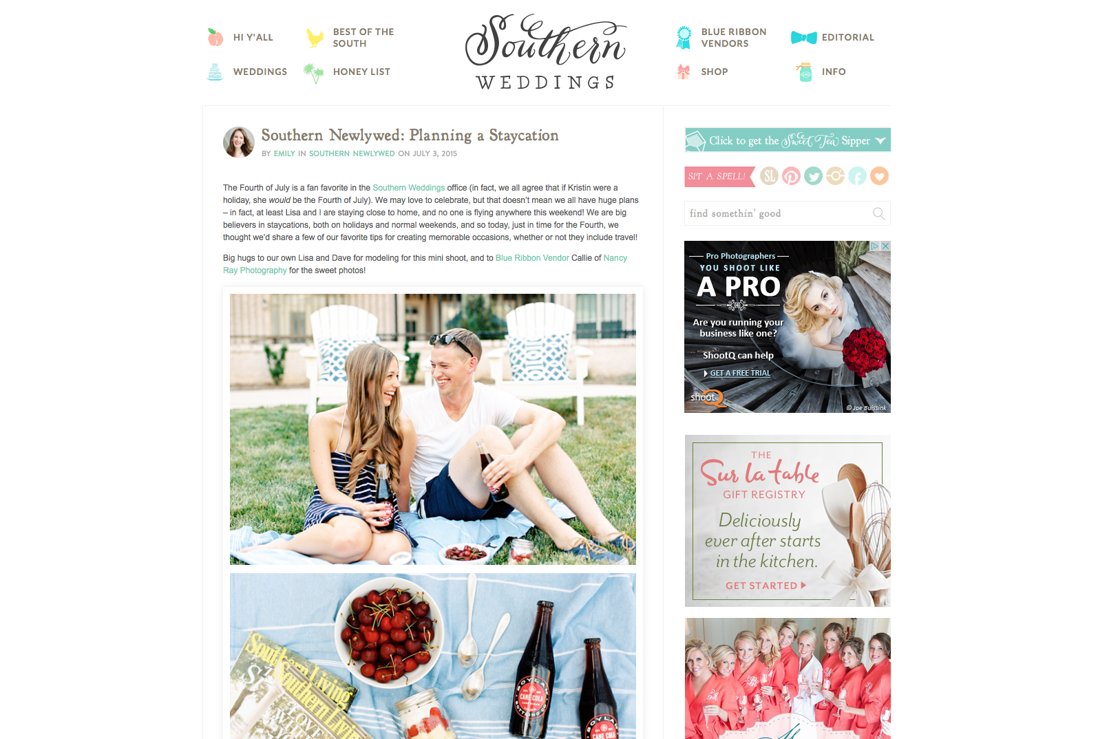 Southern Weddings Blog Staycation